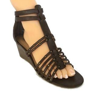 Women Wedge Heel Shoes 10 M Brown Ankle Gladiator